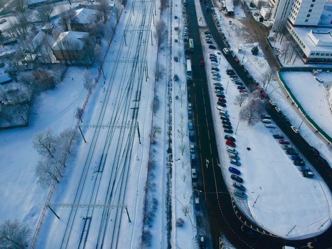 Transportation High Angle View Winter Snow Cold Temperature Mode Of Transportation No People Motor Vehicle Outdoors Nature Car Architecture City Frozen Road Land Vehicle Water Travel Day