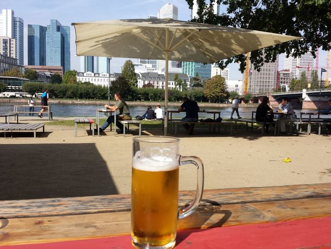 Peaceful Frankfurt Skyline Beer Beer - Alcohol Beer Glass City Drink Food And Drink Outdoors Oxygen Real People Refreshment Sunnyafternoon Table First Eyeem Photo