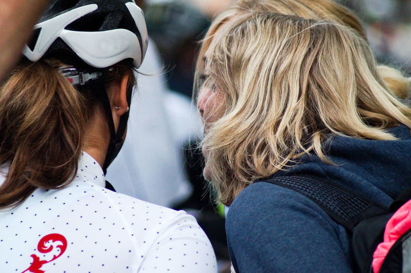 Rear View Of Women With Cyclist