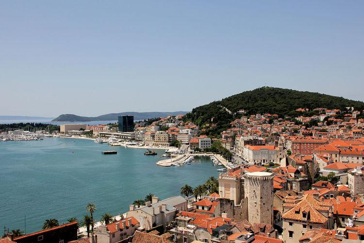 High angle view of croatian coastline