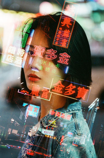 80's Asian Girl Double Exposure For Sale Hong Kong Hong Kong City Hong Kong Girl  Old Hong Kong Portrait