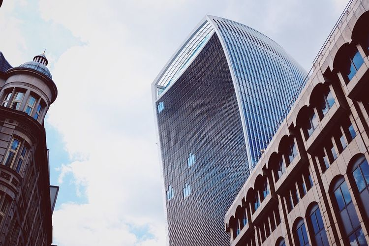 Walkie Talkie Building, London. Architecture Building Exterior Built Structure City Cloud - Sky Day Low Angle View Modern No People Outdoors Sky Skyscraper