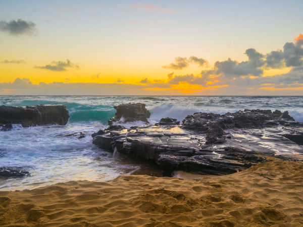 Oahu, Hawaii Beach Beauty In Nature Day Horizon Over Water Motion Nature No People Outdoors Power In Nature Sand Scenics Sea Shore Sky Sunset Tranquil Scene Tranquility Water Wave