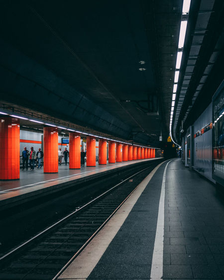 Subway station munich Perspective Contrast Urban Orange Moody Subway Subway Station Ceiling Light  Underground Walkway Underground vanishing point Underpass Subway Platform My Best Photo
