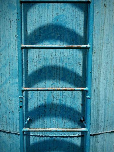 Close-Up Of Blue Metal Ladder