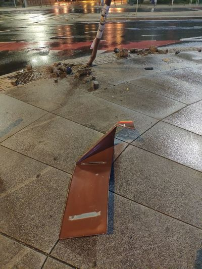 Wet sidewalk in rainy season