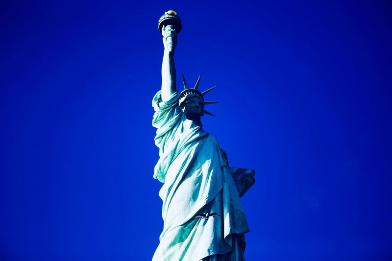 Yes I do New York Statue Of Liberty Statue Sculpture Low Angle View Blue Art And Craft Human Representation Clear Sky No People Outdoors Day Sky
