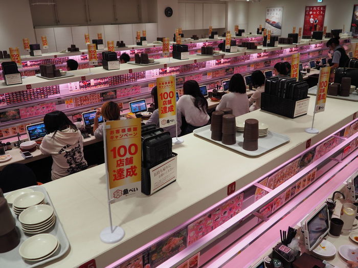 Choice Collection Consumerism Day Feeding Humanity For Sale Future Vision Futuristic Indoors  Modernism No People People Eating Pink Post Modern Price Tag Retail  Shelf Store Sushi Restaurant Variation
