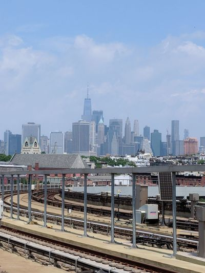view of downtown Manhattan from Gowanus elevated subway stop New York Freedom Tower Subway Brooklyn Gowanus Modern Business Downtown District Business Finance And Industry Railroad Station Platform