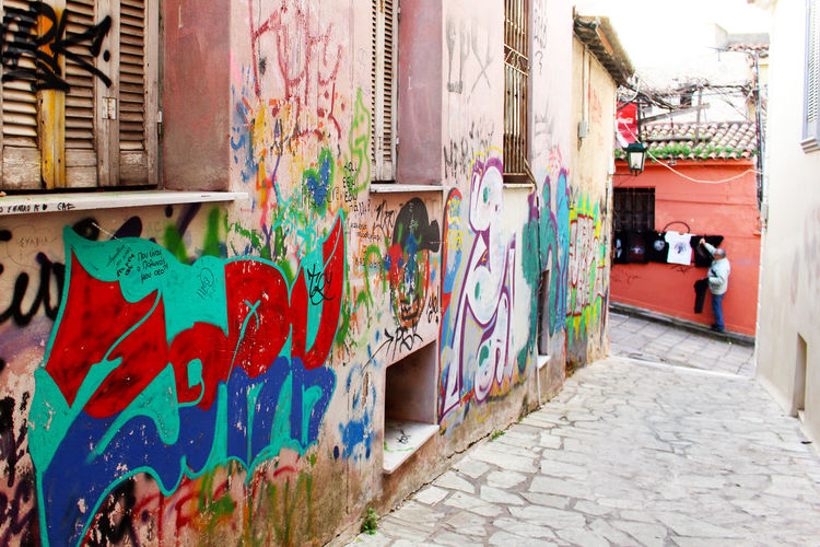 Art Athens Athens, Greece Day Graffiti Greece Multi Colored Pink Pink Building Plaka Residential Building Street Street Art Street Art/Graffiti Streetart Streetphotography