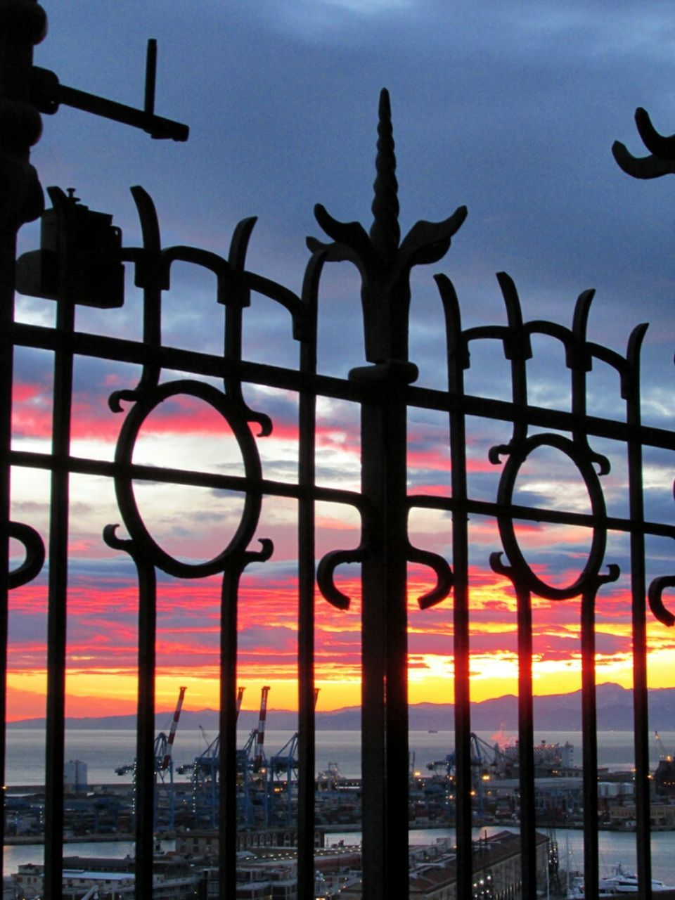 metal, sunset, gate, sky, outdoors, no people, wrought iron, silhouette, day, close-up, nature, water