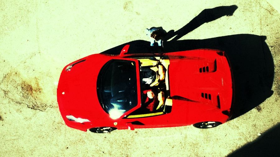 Ferrari458  from top. Ferrari 458 Supercar Outdoors Red Streetphotography