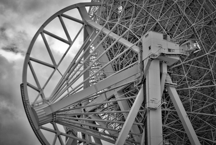 Built Structure Cloud - Sky Culture Day Engineering Famous Place Ferris Wheel Geometric Shape International Landmark Large Low Angle View Monument No People Outdoors Radioteleskop Effelsberg Sky Structure Tourism Travel Travel Destinations