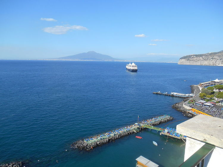 Bay Of Naples, Italy. Boats And Water Harbour View Holiday Italy Rugged Coastline Sorrento Vesuvius