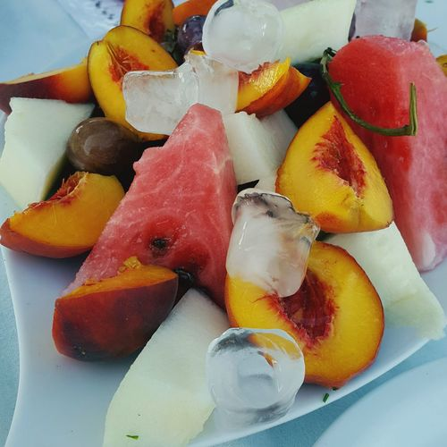 Fruit Fruits Fruit Photography Fruitporn Food Food Photography Foodphotography Watermelon Melon Peach Peaches Grapes Icecubes Summer