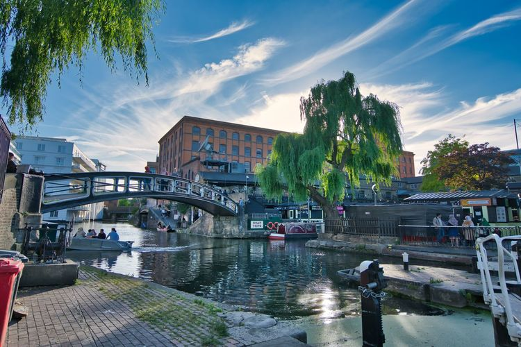 Camden Lock Camden Town Camden Lock Bridge - Man Made Structure Boat Barge London LONDON❤ London lifestyle Water Built Structure Architecture Transportation Building Exterior Sky Tree Plant Nautical Vessel Bridge Nature Connection City Cloud - Sky River Mode Of Transportation Day Incidental People Outdoors