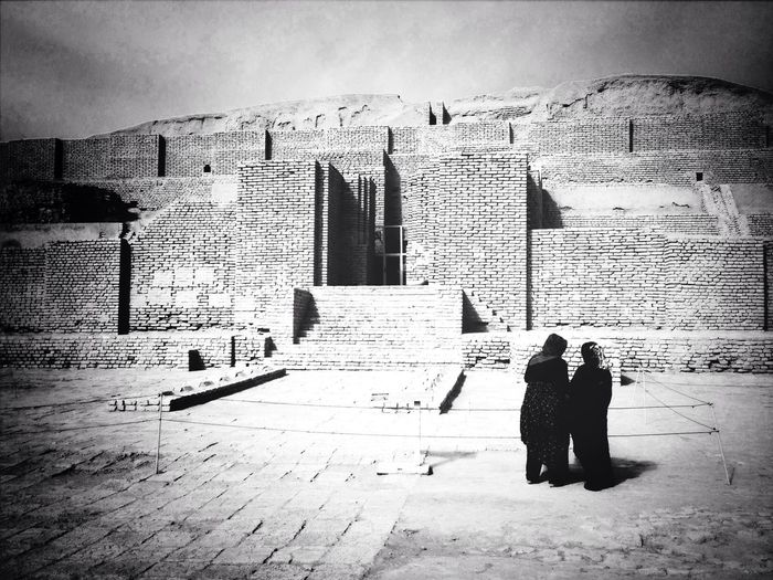 Visitors at the ancient Elamite brick ziggurat at Choqa Zanbil Unesco World Heritage Site Blackandwhite Streetphotography