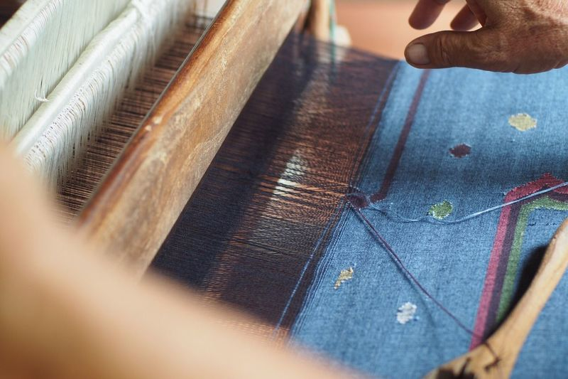Cropped hand weaving at workshop