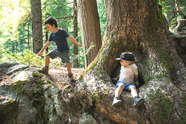 Full length of father and daughter on tree trunk in forest