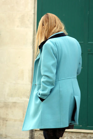 coat Eyeem Italian Back Fashion Winter Woman Blond Hair Candid Coat Cyan Daily Life Day Daylight Hand In Pocket Jacket Lifestyles One Person Outdoors People Real People Rear View Standing Street Streetphotography Three Quarter Length Walking Women Fashion Stories