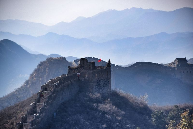 High angle view of great wall of china and mountain range