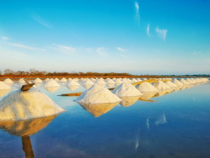 Heap of sea salt in salt farm ready for harvest at Samut Sakhon in Thailand Farm Dry Sea Sun Salty Thailand Samut Sakhon Water With Sail Nature Salt - Mineral Salt Basin Water Lake Drying Salt Flat Reflection Sky