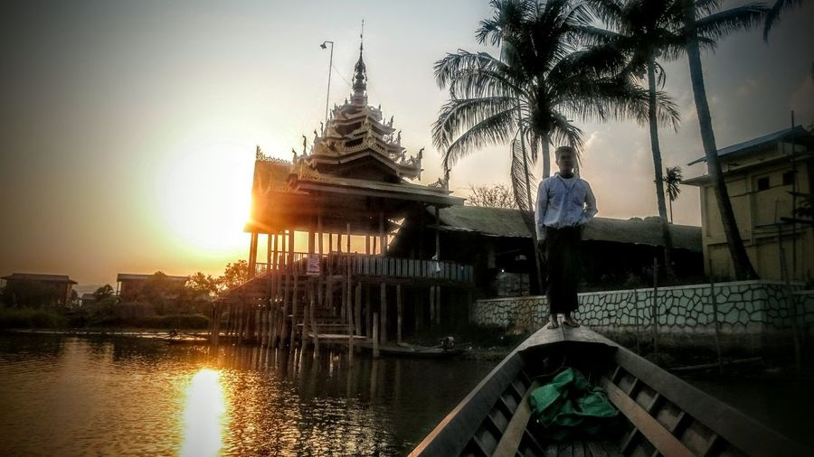 Sunset Inle Lake Inlay Lake Myanmar Showcase April Shan State Burma Birma People And Places Buddhist Temple Longyiboat ride Palm Trees Glittering Waters On The Water Boat Run DeRowing boat Ahoi Nyaung Shwe Dusk My Favorite Photo The Great Outdoors With Adobe The Great Outdoors - 2016 EyeEm Awards Golden Moments  On The Way My Year My View Let's Go. Together.