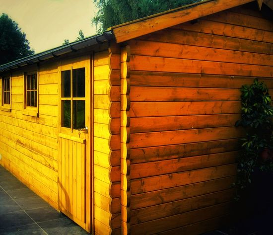 Paint The Town Yellow Garden Shed Selfmade Wood Wood - Material Wood Paneling Tree Garden Photography Selfmade Pic Selfmade Work Working Hard Finished Finished Work Roof Architecture Sheds Pannel Terrace Outdoors Sky Building Exterior Building