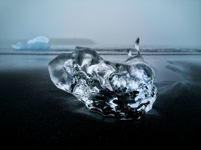 Close-up of piece of ice on diamonds beach in iceland