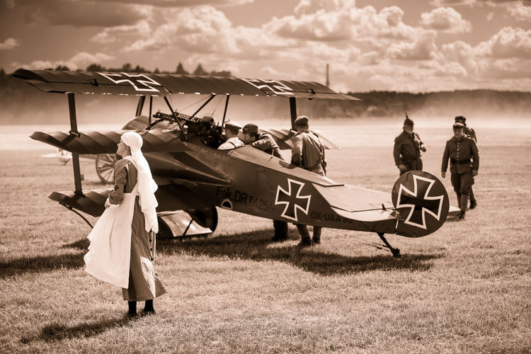 Air Battle Air Fighter Air Show Airplane Cloud - Sky First World War Historical Reconstruction Historical Reenactment History Iron Cross Old Planes Old-fashioned Period Costume Red Baron Sepia Sky War Plane Weapon