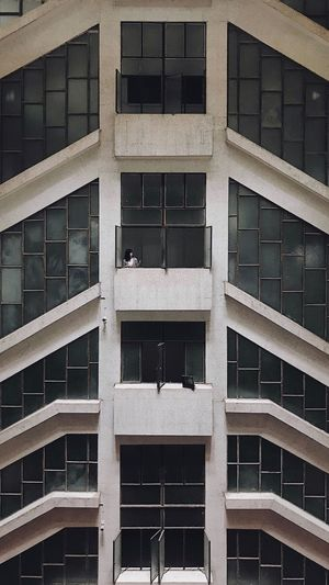 Symmetry One Person Amazing View Architecture Built Structure Building Exterior Building Window Full Frame Pattern