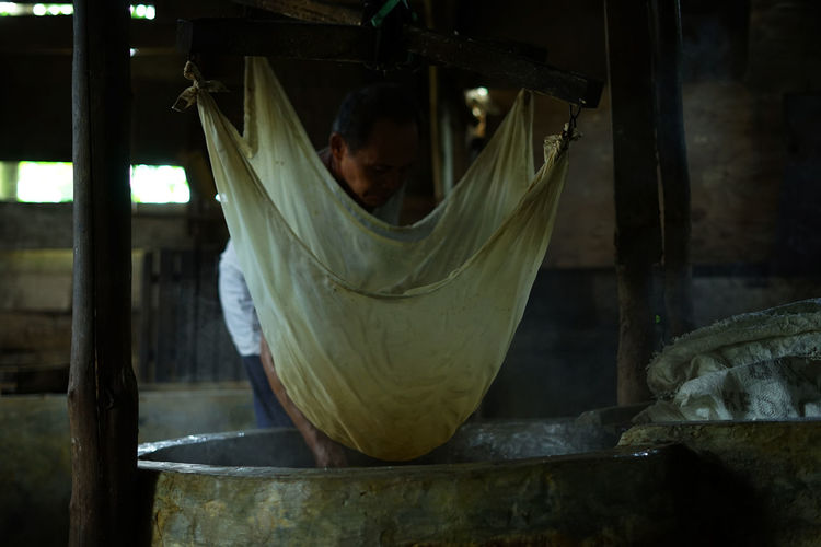 Woman working in temple