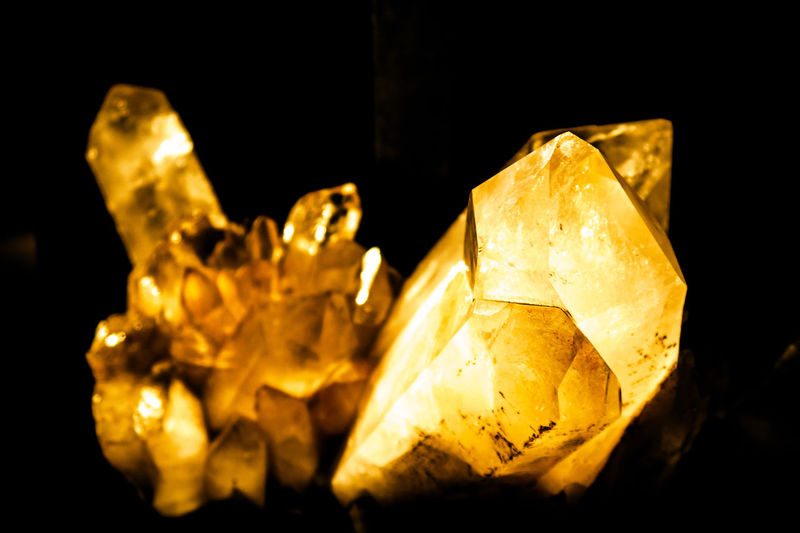 Golden Chrystal AMNH Black Background Close-up Crystal Geode Gold Colored Topaz Yellow