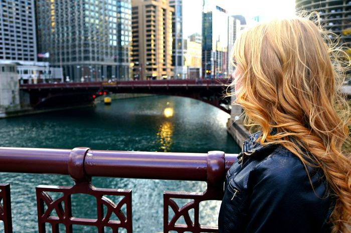 Architecture Blonde Girl Blonde Hair Built Structure Chicago Chicago Architecture Chicago River Chicago Riverwalk City City Life Cityscape Curly Hair Focus On Foreground Golden Hair  Long Hair River Water Let Your Hair Down