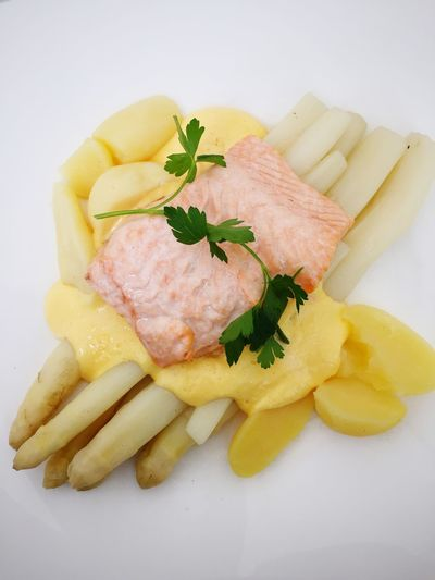 Close-Up Of Salmon Served In Plate