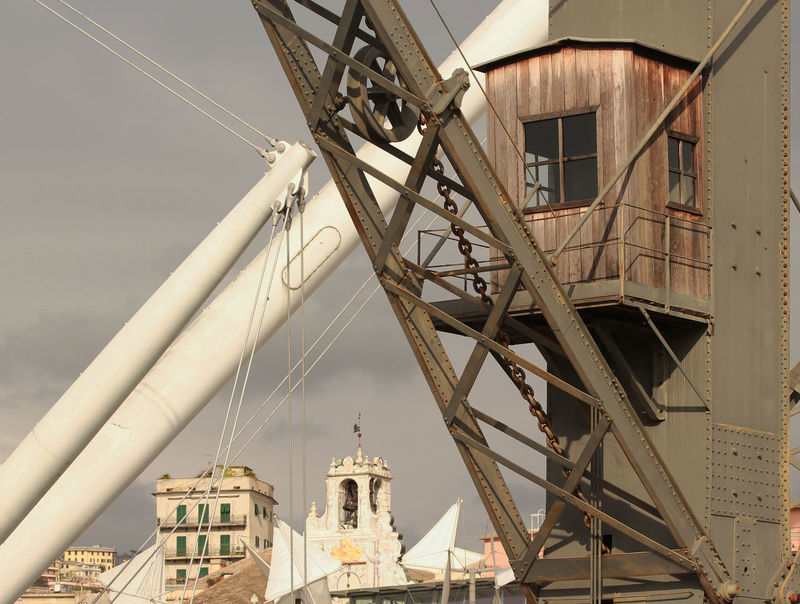 Architecture Bigo Built Structure Crane Crane - Construction Machinery Genoa Genoa, Italy, Europe, Liguria Genova Genova #architecture Genova ♥ Genovamorethanthis Genovatales Harbour Harbour View Lines Metal No People Old Old And New Outdoors Portrait Sky Transportation Wood