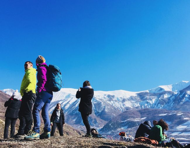 Go Higher Go Higher Hikingadventures Hiking Mountain Blue Copy Space Full Length Clear Sky Backpack Sky Nature Real People Leisure Activity Adventure Mountain Range Sunlight Day Lifestyles Snow Outdoors Low Angle View Winter Go Higher #FREIHEITBERLIN The Great Outdoors - 2018 EyeEm Awards