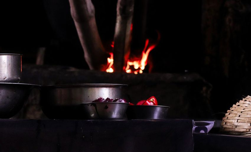 Cooking Fire Tomato Onion Cooking Streetphotography Black Background Nopeople Fire - Natural Phenomenon City Close-up Bonfire Camping Stove Firewood Pan Wood Burning Stove