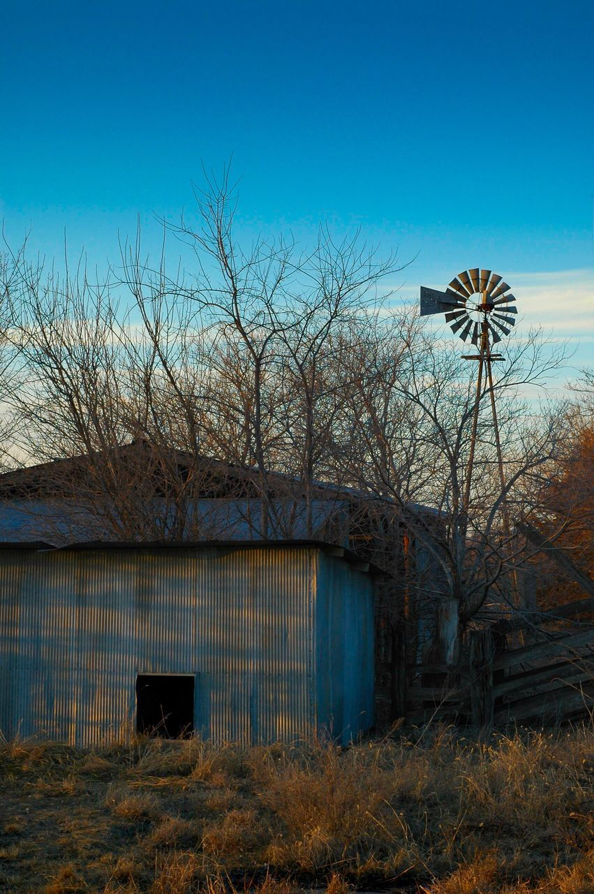 built structure, architecture, bare tree, abandoned, building exterior, no people, outdoors, sky, tree, day, clear sky
