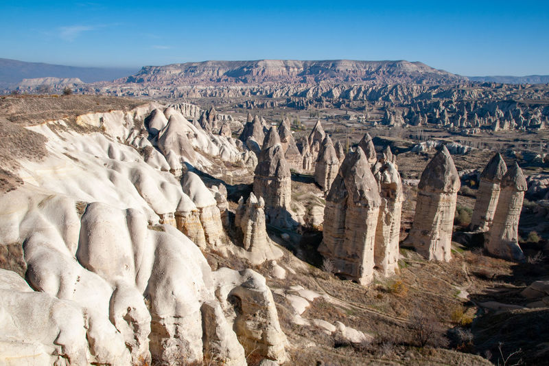 Landscape in Cappadocia Cappadocia Kapadokya National Park Travel Turkey Eroded Fairy Chimneys Geology Göreme Hoodoos Landscape Nature No People Outdoors Rock Formation Sandstone Scenics - Nature Travel Travel Destinations