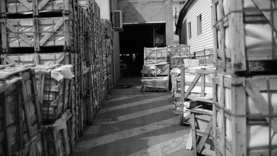 Architecture Black & White Black And White Blackandwhite Blackandwhite Photography Boxes Built Structure Crates Day Fujifilm Indoors  Monochrome No People Ware Warehouse