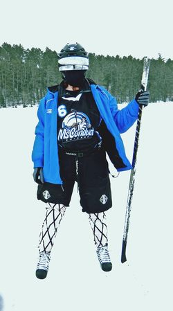 Stacey Fabustyle ready to play Pond Hockey @ the USA Hockey tournament with Ms. Conduct.