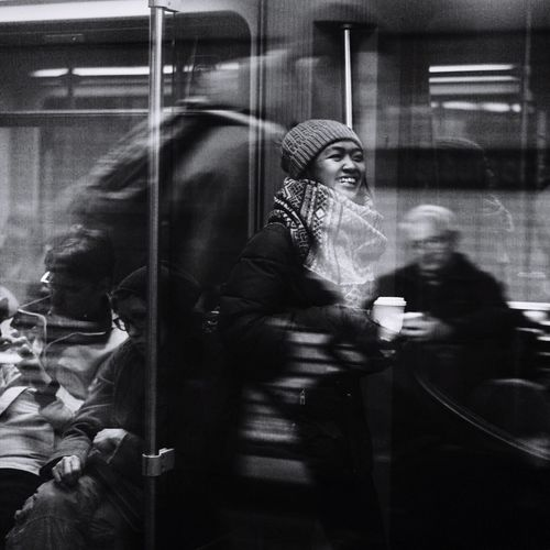 Meanwhile. Train - Vehicle Real People Blurred Motion Public Transportation Subway Train People Blackandwhite Photography Streetphotography First Eyeem Photo