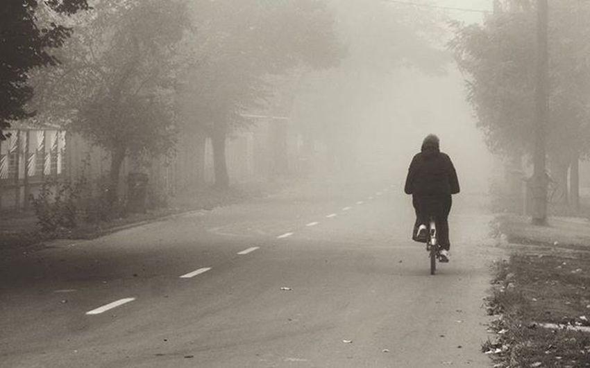 Bicycle Cycling Old Lady Fog Mist Misty Foggy Street Alone Empty Blackandwhite Bnw_captures Bnwhungary Cold Autumn November Noir Art Mood Morning Hungary Békéscsaba Life Grey