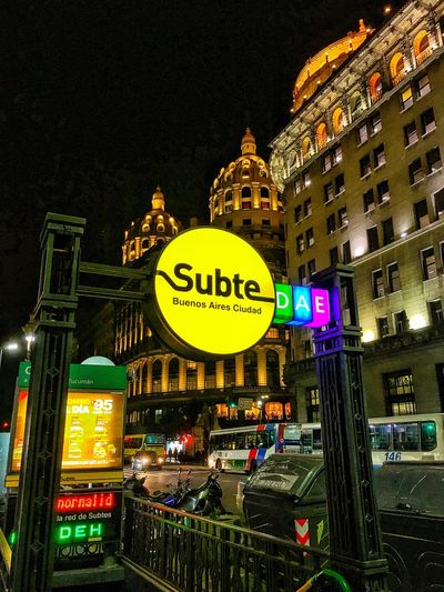 Subte Subway Subway Station Building Exterior Night Illuminated City Outdoors No People Cityscape Iphone6splus IPhone IPhone Photography Iphonephotography Iphoneonly IPhoneography Iphonegraphy City Lights