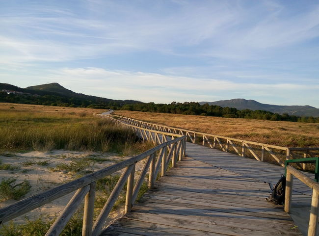 Beauty In Nature Blue Boardwalk Cloud - Sky Diminishing Perspective Duna De Corrubedo Galicia, Spain Grass Idyllic Landscape Mountain Nature No People Non-urban Scene Scenics Sky The Way Forward Tranquil Scene Tranquility Vanishing Point Wood - Material No Filter, No Edit, Just Photography Sunset