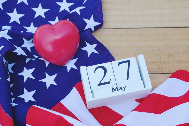 Red heart, wooden calendar and american flag on old wood table Cheerful Peaceful Memory Peace Army Pride Memorial Liberty Anniversary Patriotism Holiday Soldier Independence Flag Nation Event Celebration Celebrate Greeting America Country Remember USA Memorial Day Emblem