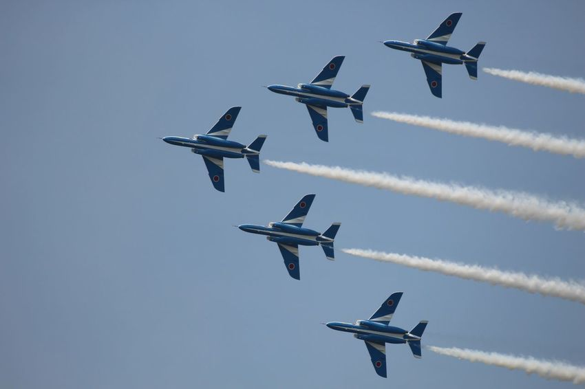 Blue Impulse Aerobatics Aerospace Industry Air Force Aircraft Wing Airplane Airshow Arrangement Blue Impulse Day Explosive Flying Formation Flying Industry Military Nature No People Outdoors Practicing Sky Sports Activity Strength Teamwork
