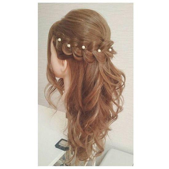 ヘアセット Hairアレンジ ヘアアレンジ Hair 美容院 手作りアクセサリー セットサロン ハーフアップ♡ 編み込み♡
