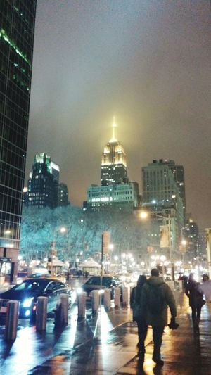 NYC Winter Empire State Building Night Lights